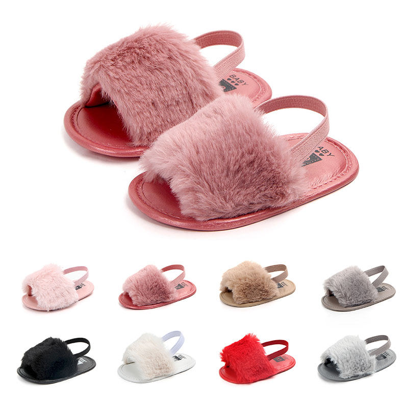 Summer Baby Girl Slipper Soft Hair Style Classic Sandals Breathable Baby Fur Shoes Simple Elastic Sandals Princess Baby