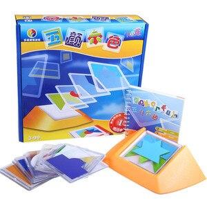 Image 1 - 100 desafio código de cor quebra cabeça jogos tangram quebra cabeça placa brinquedo crianças desenvolver lógica espacial raciocínio habilidades brinquedo