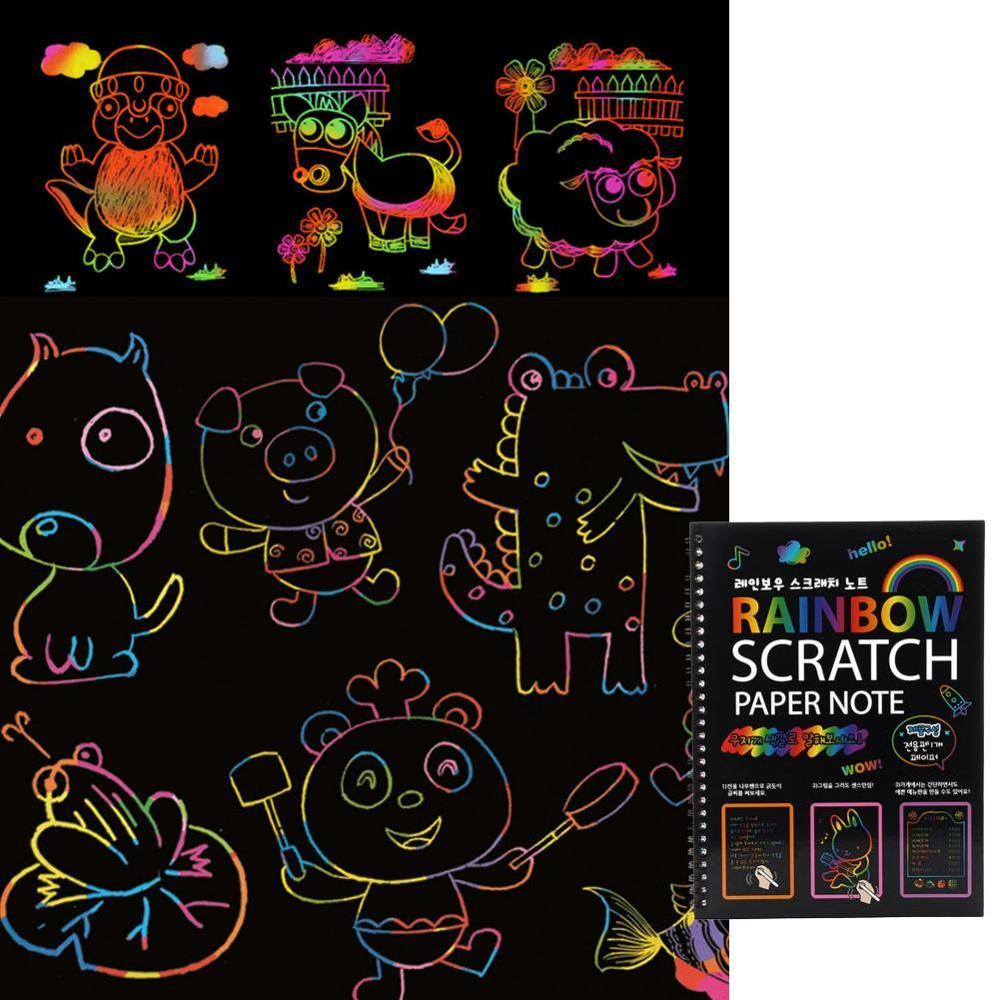 New Black Magic Color Rainbow Scratch Paper Note Book 19*26cm DIY Drawing Toys Scraping Painting Kid Doodle Educational Books