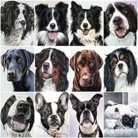HUACAN-Cuadros artesanales por números de perro, Kits de dibujo sobre lienzo, pintura artística pintada a mano por números, regalo de Animal, decoración del hogar