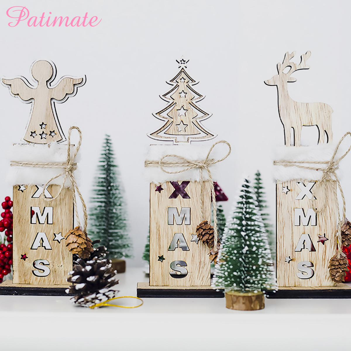 PATIMATE Wooden Christmas Tree Decoration Letter Bell Plush Sign Pendants Xmas Oranments Christmas Party Decor New Year in Pendant Drop Ornaments from Home Garden
