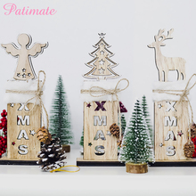 PATIMATE Wooden Christmas Tree Decoration Letter Bell Plush Sign Pendants  Xmas Oranments Party Decor New Year