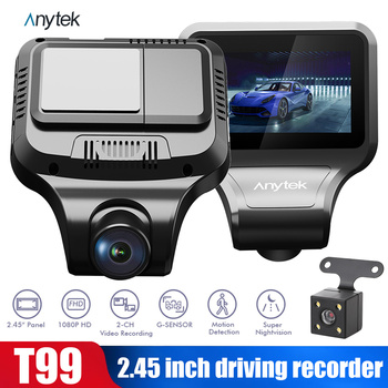 Anytek 2.7'' IPS Car DVR 1080P Dashcam ADAS Dash Cam 24 Hours Parking Monitor Night Vision Camera Dual Lens Auto Recorder image