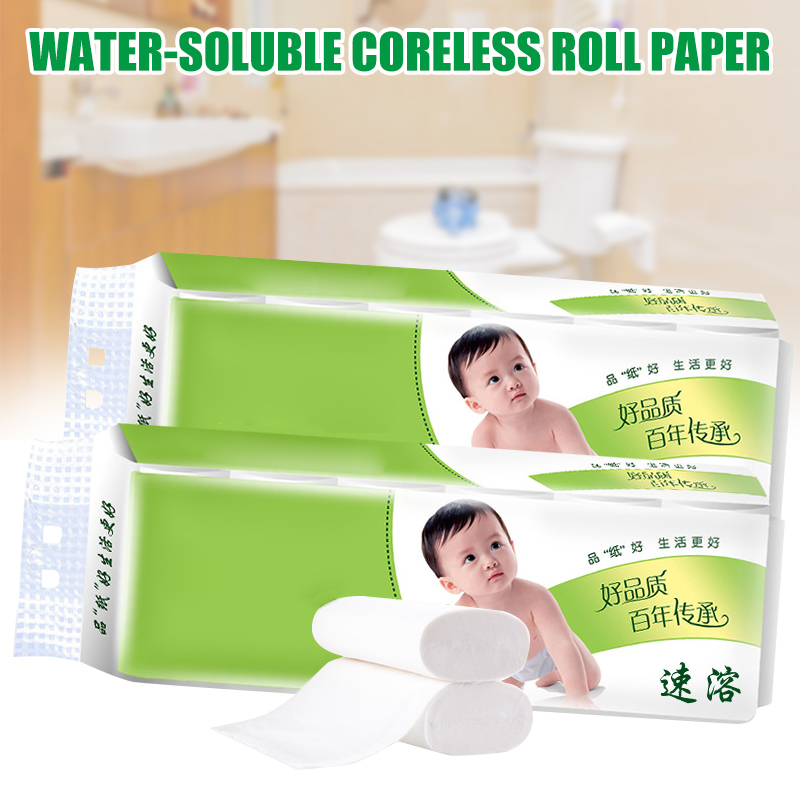 12 Roll Instant Soluble Toilet Paper Bulk Roll Bath Bathtoom Paper Towel 4-ply Tissue For Baby Adult H9