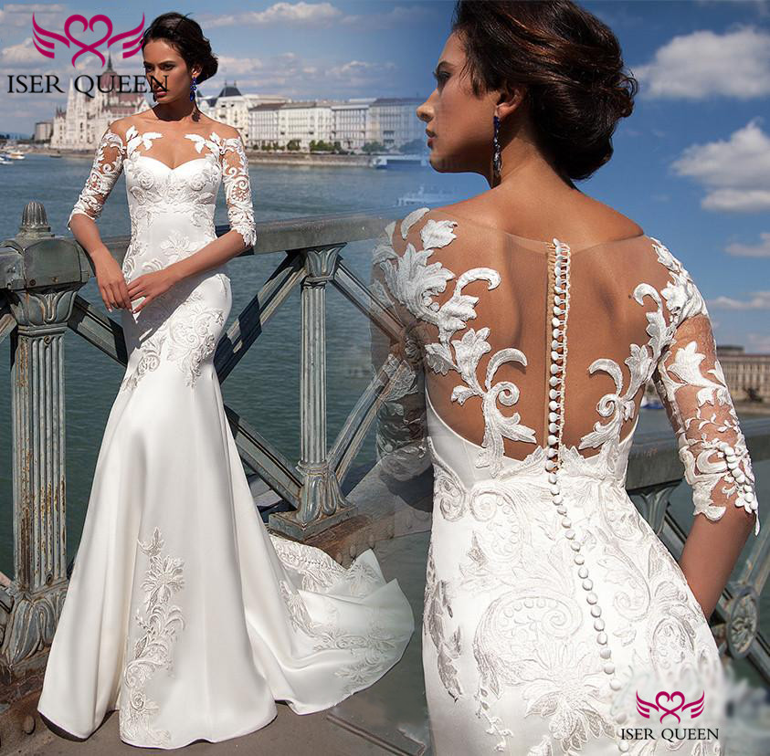 Elegant Pure White Delicate Embroidery On Lustrous Satin Vestido Longo Wedding Button Illusion Half Sleeves Bridal Gown W0566