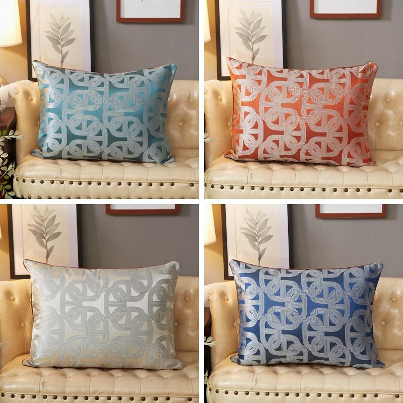 50x70/60X70/60X80CM European Linear Jacquard Cushion Cover Sofa Satin Lumbar Pillowcase Wasit Pillow Cover Backrest