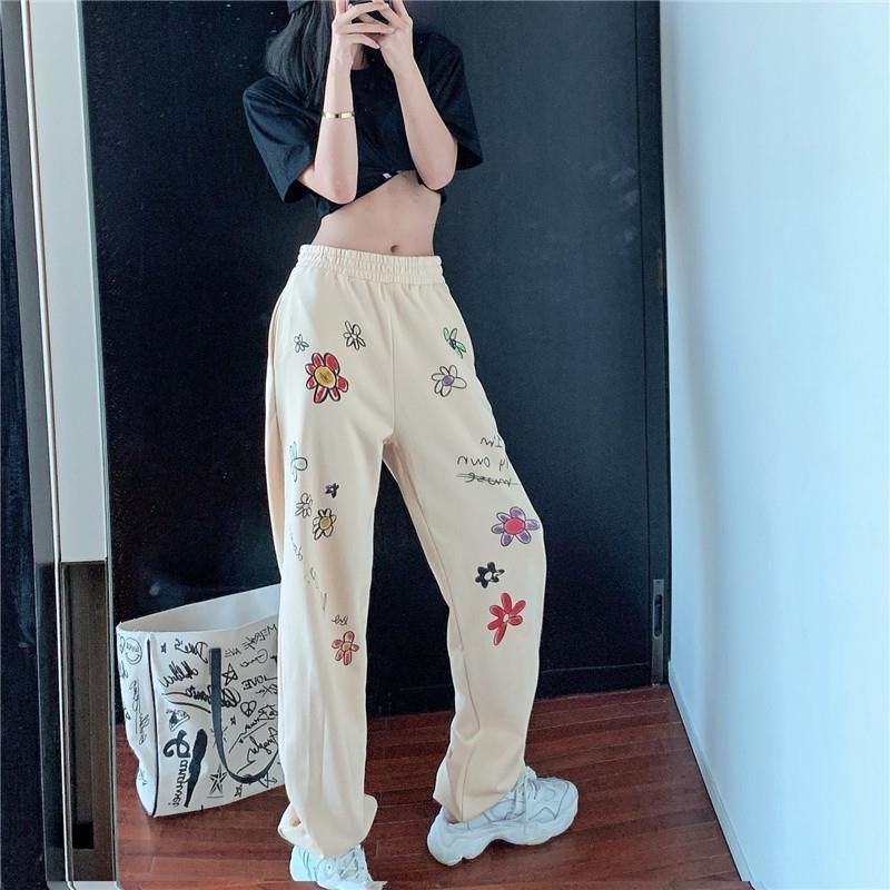 Женские штаны в стиле хип хоп, новинка 2020, повседневные спортивные штаны для танцев, модные штаны шаровары с цветочным принтом и высокой талией, брюки для бега для женщин|Брюки |   | АлиЭкспресс
