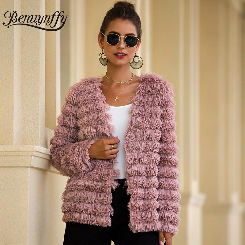 Benuynffy Elegant Office Lady Faux Fur Coat Autumn Winter Fashion V-neck Long Sleeve Open Front Plush Women Outerwear Coat