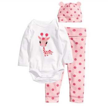 Infant Baby Clothing Sets Spring Autumn Baby Boys Girls Clothes Long Sleeve Romper+Pants+Hats 3Pcs Suits Children Clothing F0032 children clothing set spring autumn casual kids suits for girl coats shirts pants 3pcs girls clothes 1 2 3 4 year baby costume