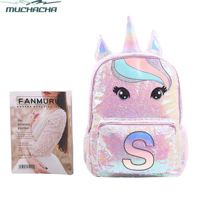 New Style Cute Cartoon Unicorn Sequin Mermaid Girl Hologram Laser Travel Mochila Casual Bag Student School Bag