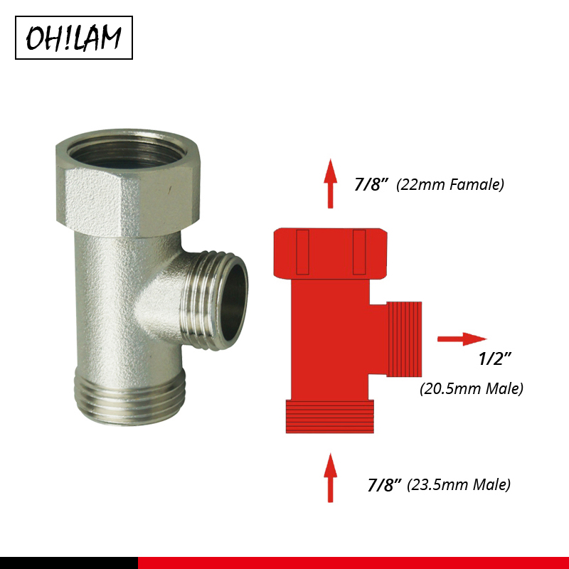 Bathroom Accessories Shower Diverter Valve T-adapter Toilet Tank Connector Angle Valve 7/8