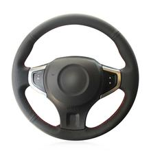 цена на For Renault Koleos Car hand-sewn steering wheel cover black artificial leather
