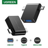 Ugreen 2 in 1 OTG Adapter Micro USB Typ C zu USB 3,0 Adapter Für Samsung Galaxy S20 S10 Macbook USB C OTG Adapter Konverter