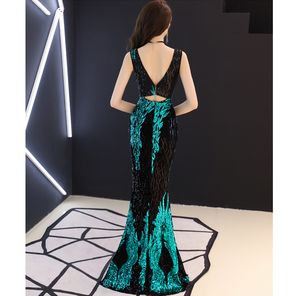 Evening Dress Sexy Deep V neck Robe De Soiree 2019 Sleeveless Floor Length Women Party Dresses Sequin Formal Evening Gowns F120 in Evening Dresses from Weddings Events