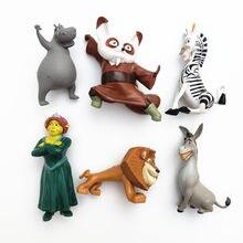 6 pçs mix madagascar animais zebra leão hipopótamo burro kung fu mestre shifu figura de ação collectible modelo bonecas