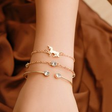 Fashion Gold Color Alloy Open Cuff Bracelets Bangles Set Women Leafs Tree Triangle Chain Charms Bracelet Female Gift(China)