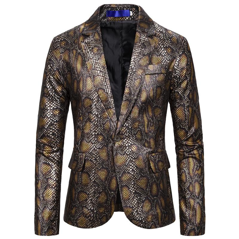 Snake Print Blazer For Men Suit Dress Costume One Button Hot Stamping Tuxedos Men Blazer Jacket New