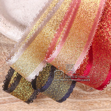 100yards 25mm 38mm double picot satin edge glitter gold metallic ribbon for hair bow diy accessories bouquet gift packing decor