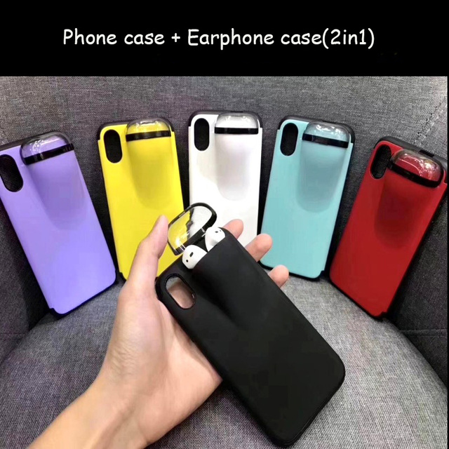 Fashion 2in1 Phone Case with Earphone Case for Airpods, Silicone Phone Case for iphone 11 pro 6 7 8 plus Xs X max Cover