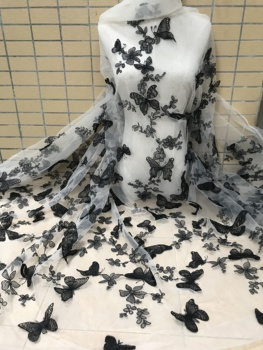new arrival  ZH-20985 embroidered net lace fabric Nigeria tull net lace fabric with butterfly
