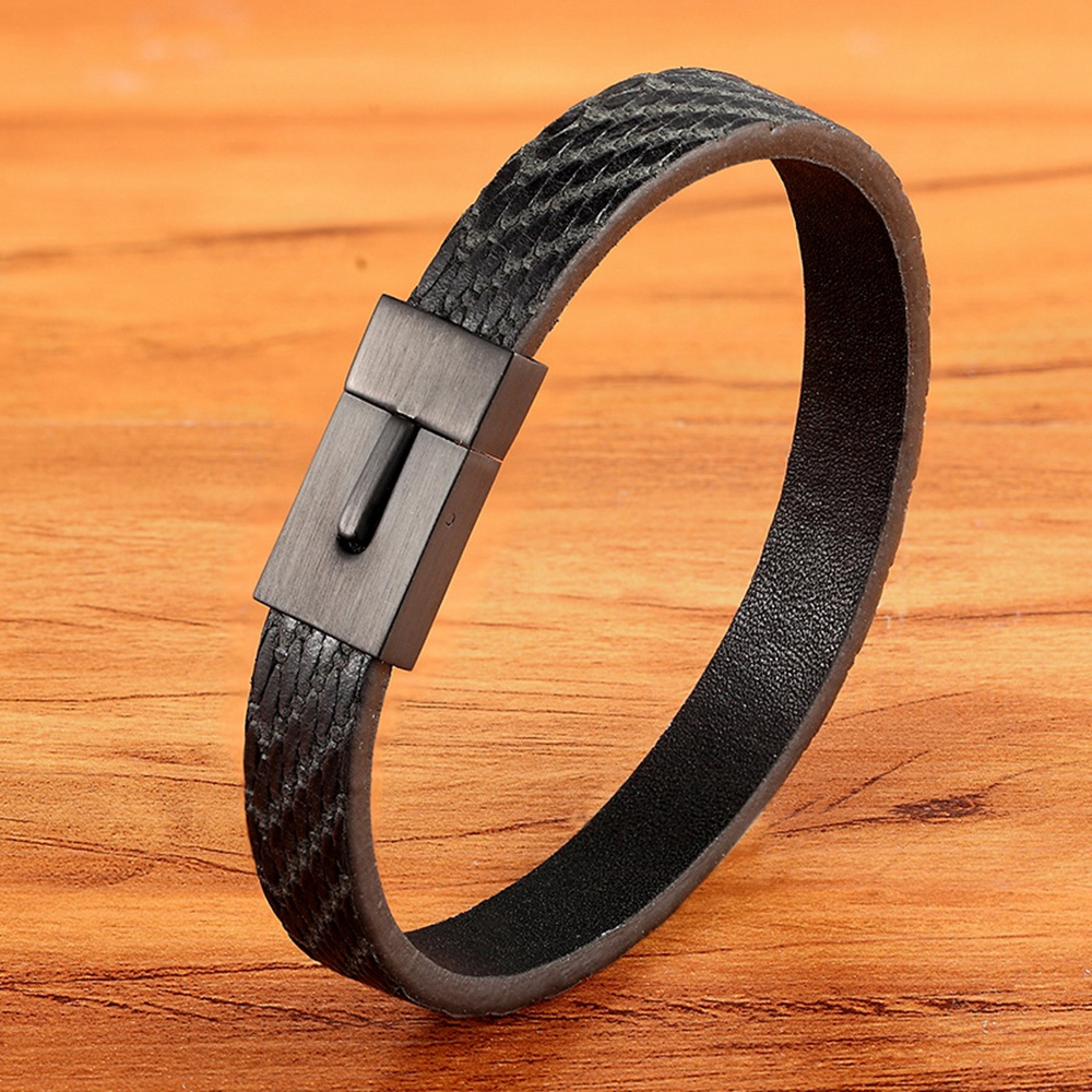 828 Classic Simple Style Leather Texture Stainless Steel Push Button Men's Leather Bracelet Handsome Boy Special Gift Discount