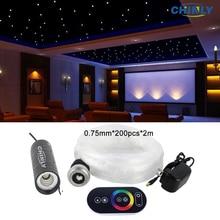 6W LED סיבים אופטי אורות RGB שמי זרועי הכוכבים אפקט תקרת ערכת עם מגע מרחוק בקר סיבי כבל 2m 200pcs 0.75mm + גבישים