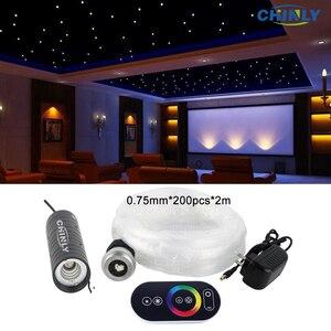Image 1 - Đèn LED 6W Sợi Quang Đèn RGB Bầu Trời Đầy Sao Hiệu Ứng Âm Trần Bộ Với Cảm Ứng Điều Khiển Từ Xa Cáp 2 M 200 Chiếc 0.75 Mm + Tinh Thể