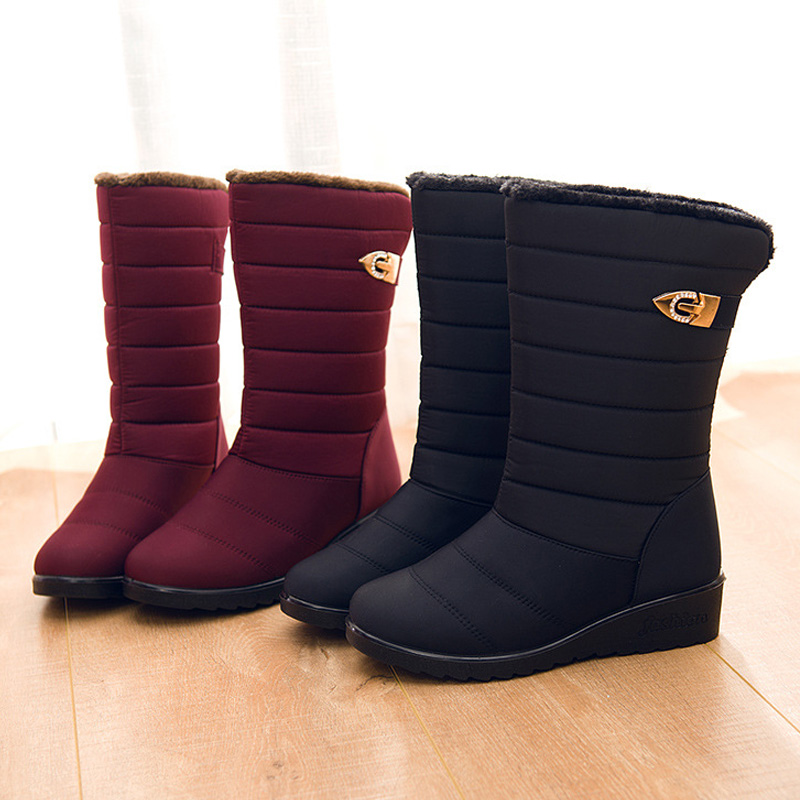 Waterproof Women 39 s Winter Boots 2019 Rain Boots For Women Shoes Female Footwear Warm Fur Snow Boots Red Women amp 39 s Boots 35 40 in Mid Calf Boots from Shoes