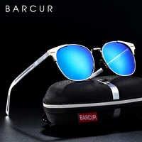 BARCUR Aluminium magnésium lunettes de soleil lunettes rondes pour hommes Punk lunette de soleil femme