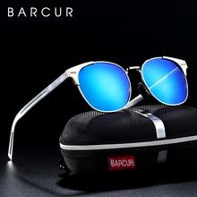Barcur alumínio magnésio óculos redondos para homem punk lunette de soleil femme