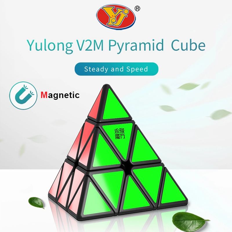 New YONGJUN Yulong V2M Magnetic Magic Pyramid Cube Speed Cubes Professional YJ V2 Stickerless Magnets Puzzle Cubo Magico 3x3x3