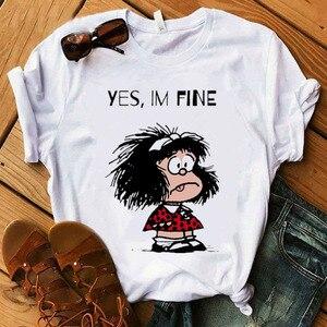 Female T-shirt cartoon PAZ Mafalda or QUIERO Cafe printed female graphic T-shirt Harajuku funny T-shirt female tops Tee