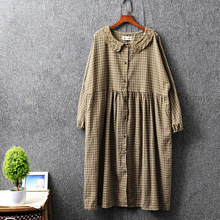 2020 spring dress women plaid dress single breasted lace col