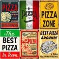 Тарелка для пиццы, Большая еда, винтажная металлическая вывеска для паба, бар, украшение для дома, лучший домашний постер, итальянская пицца,...