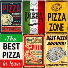 Placa de arte de pared de Pizza Zone, cartel Vintage de Metal para decoración del hogar, Pub, Bar, Pizza italiana, el mejor cartel casero, N374