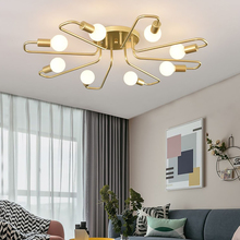 Retro Iron Ceiling Chandelier Lamp for Living Room Bedroom Loft Home Decoration Gold Lustre Vintage Nordic Led Lighting Fixture