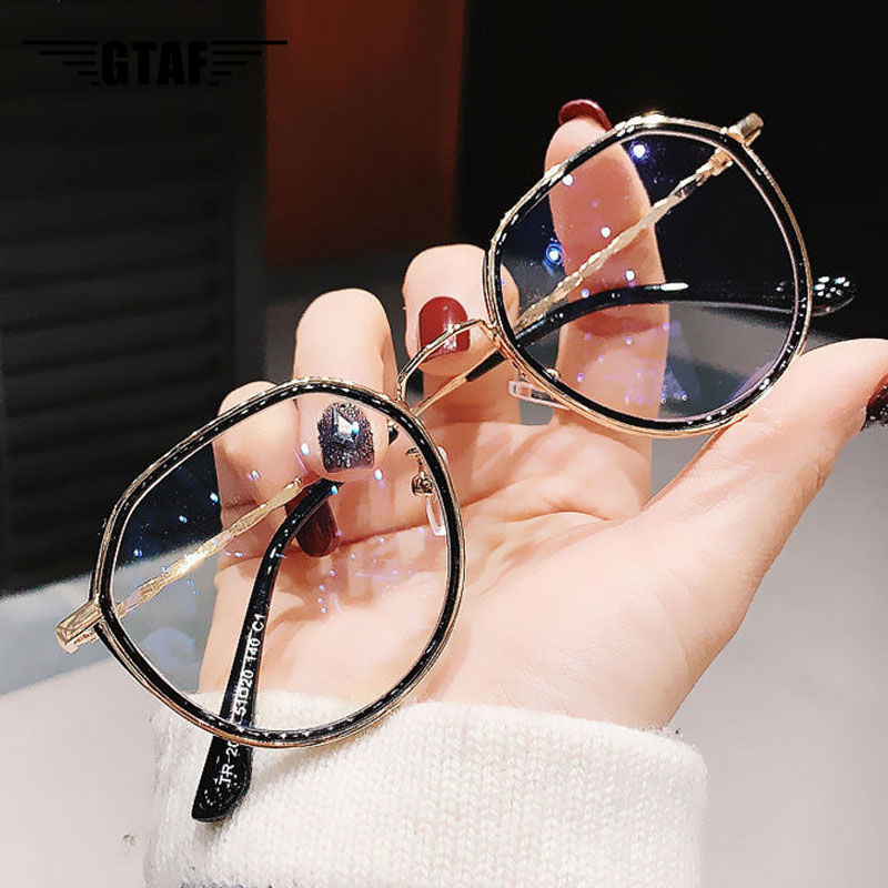 -1.0 -1.5 -2.0 -2.5 -3.0 to -6.0 Women Men Fashion Round Myopia Glasses Oversized Eyeglasses Frames Students Metal Clear Glasses 1