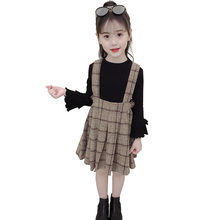 New Fashion Girls Two Piece Set Sweater + Plaid Overall Skirt Sets Baby Girl 2 Pieces Sweater Dress Set Clothing With Bow 4-13 T