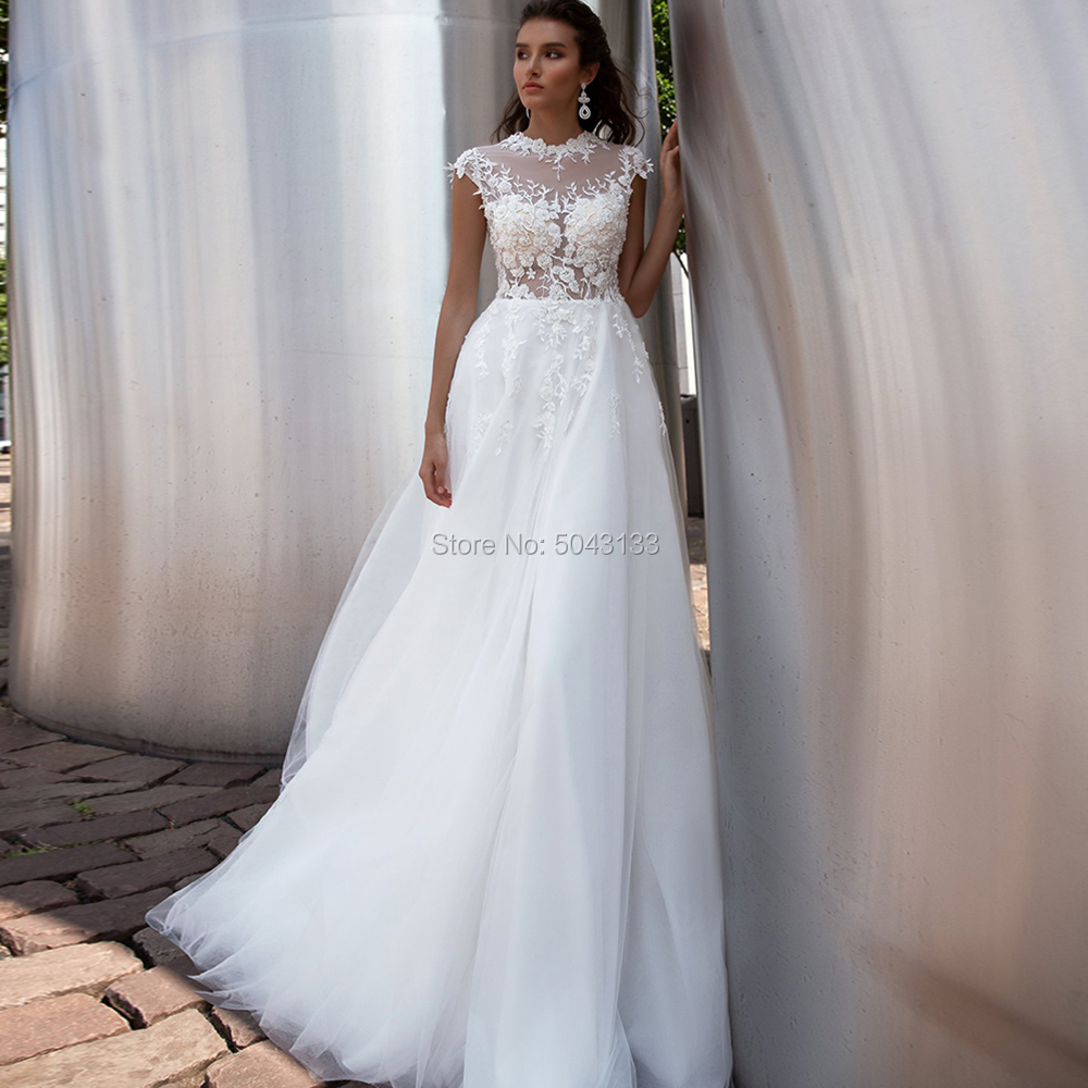Charming A Line Tulle Wedding Dresses 2020 Lace Appliques High Neck Short Sleeves Bridal Gowns Buttons Back Floor Length Brides