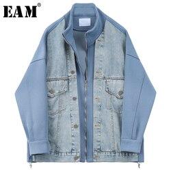 [EAM]  Women Blue Denim Split Big Size Blazer New Stand Collar Long Sleeve Loose Fit  Jacket Fashion Spring Autumn 2020 1U341