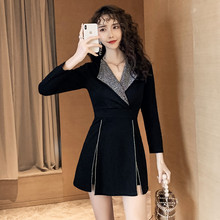 Casual Zipper Mini Dress with Diamond and Modis Shorts Women Suit Set Autumn 2019 Winter Black Streetwear Cool 2 Piece Se