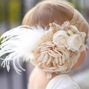 Vintage bébé fille bandeau accessoires de cheveux dentelle bandeau de cheveux strass avec plume bandeau enfant en bas âge bandeau accessoires de photographie