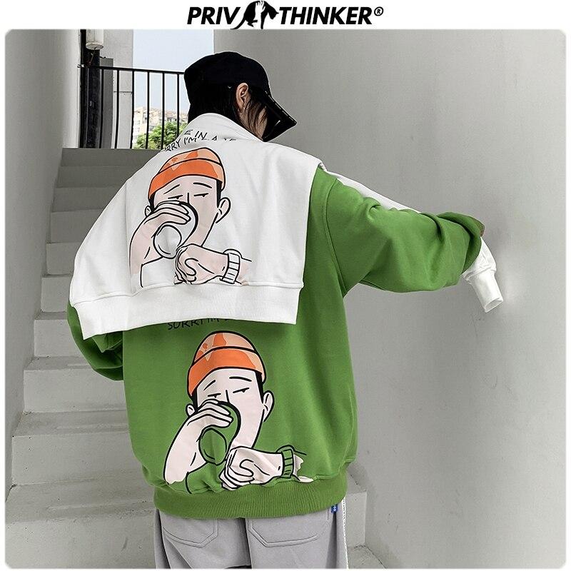 Privathinker Men's Carton Print Autumn Winter Thick Swetshirts Men 2019 Korean Warm Fashion Clothing Male O-Neck Hoodies