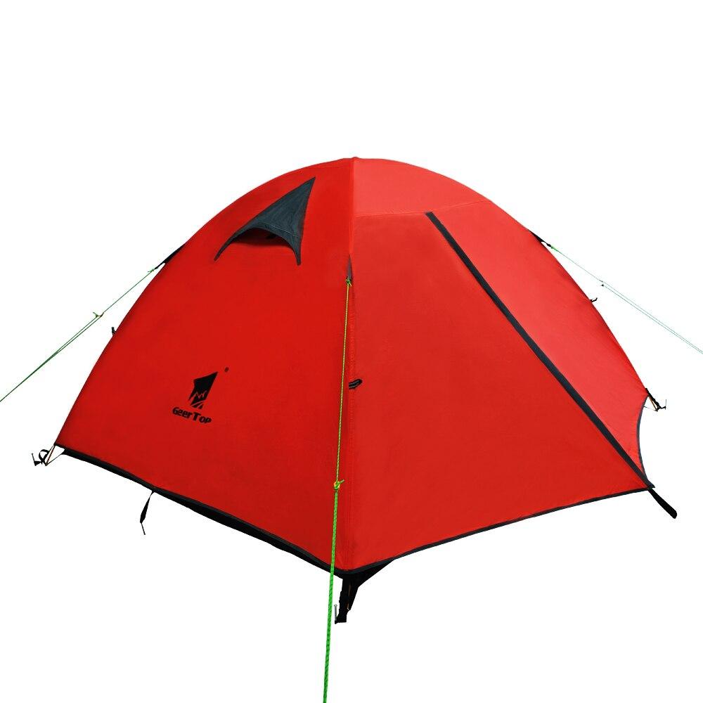 GeerTop 2 à 3 personnes tente 3 à 4 saisons sac à dos tente imperméable facile à installer homme dôme tente pour Camping randonnée voyage en plein air