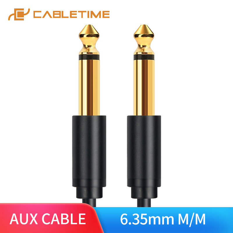 CABLETIME AUX Cable 6.35 mm Mono Cable Gold Plated Male to Male Black Instrument Cable for Electric Guitar Bass keyboard C23 image