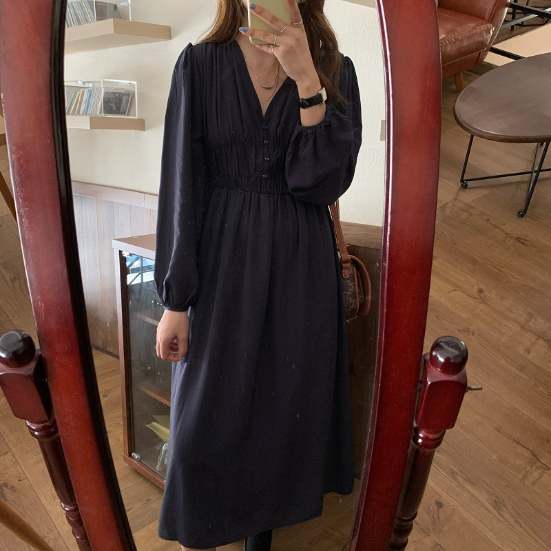 Hf044f0d14c6041cda85edc7a67432fffs - Autumn V-neck Long Sleeves Pleated Waist-Controlled Solid Loose Dress