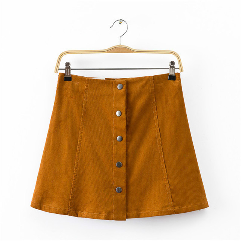 Women Vintage Corduroy A-line Skirt High Waist Single Breasted Retro Straight Streetwear Female Gorgeous Daily Wear Short Skirts