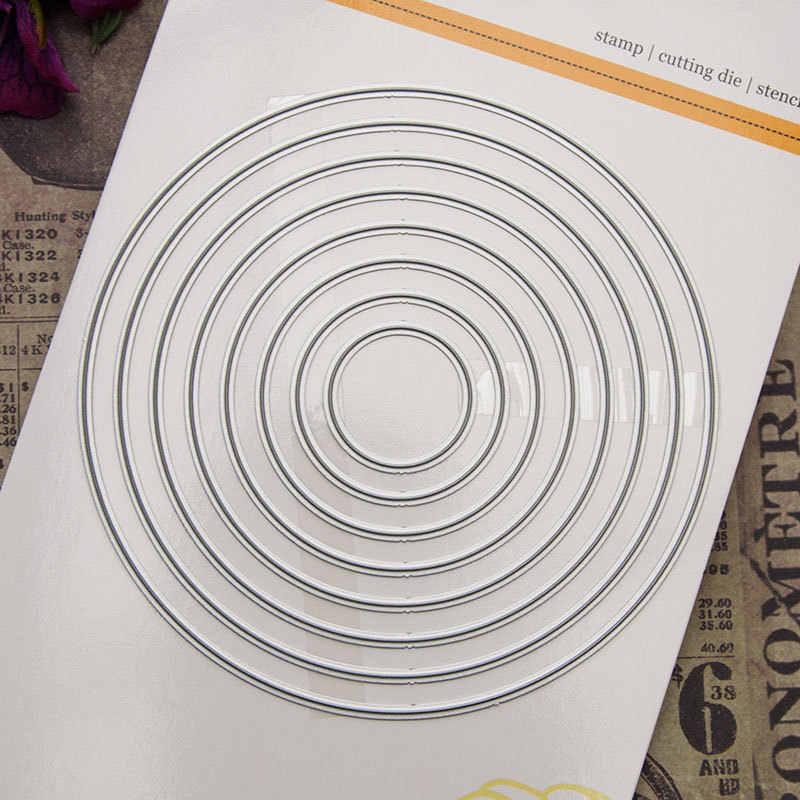 8 Pcs Round Lingkaran Metal Cutting Dies Stensil Baru 2019 untuk Diy Scrapbooking Kerajinan Dies Memotong Dekorasi Kartu Foto