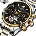 LIGE Homens Top Marca de Relógio Mecânico Automático Relógio Do Esporte Dos Homens de Negócios de Luxo Relógios Completa de Aço À Prova D' Água Relogio masculino