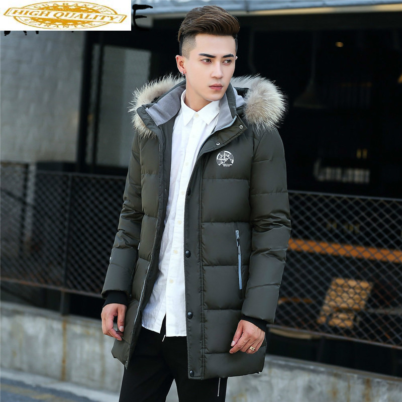 Plus Size Down Jacket Men Korean Winter Coat Men Long White Duck Down Puffer Jacket Men Warm Casaco 801 YY1313